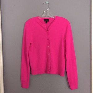 J. Crew cashmere cardigan, hot pink, medium
